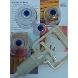 Plastic Cup Jars set( 4pc include hand pump)